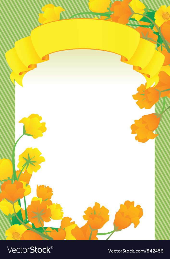 Yellow scroll frame vector | Price: 1 Credit (USD $1)