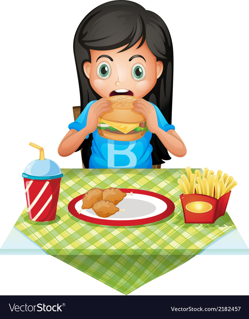 A hungry girl eating at a fastfood restaurant vector | Price: 1 Credit (USD $1)