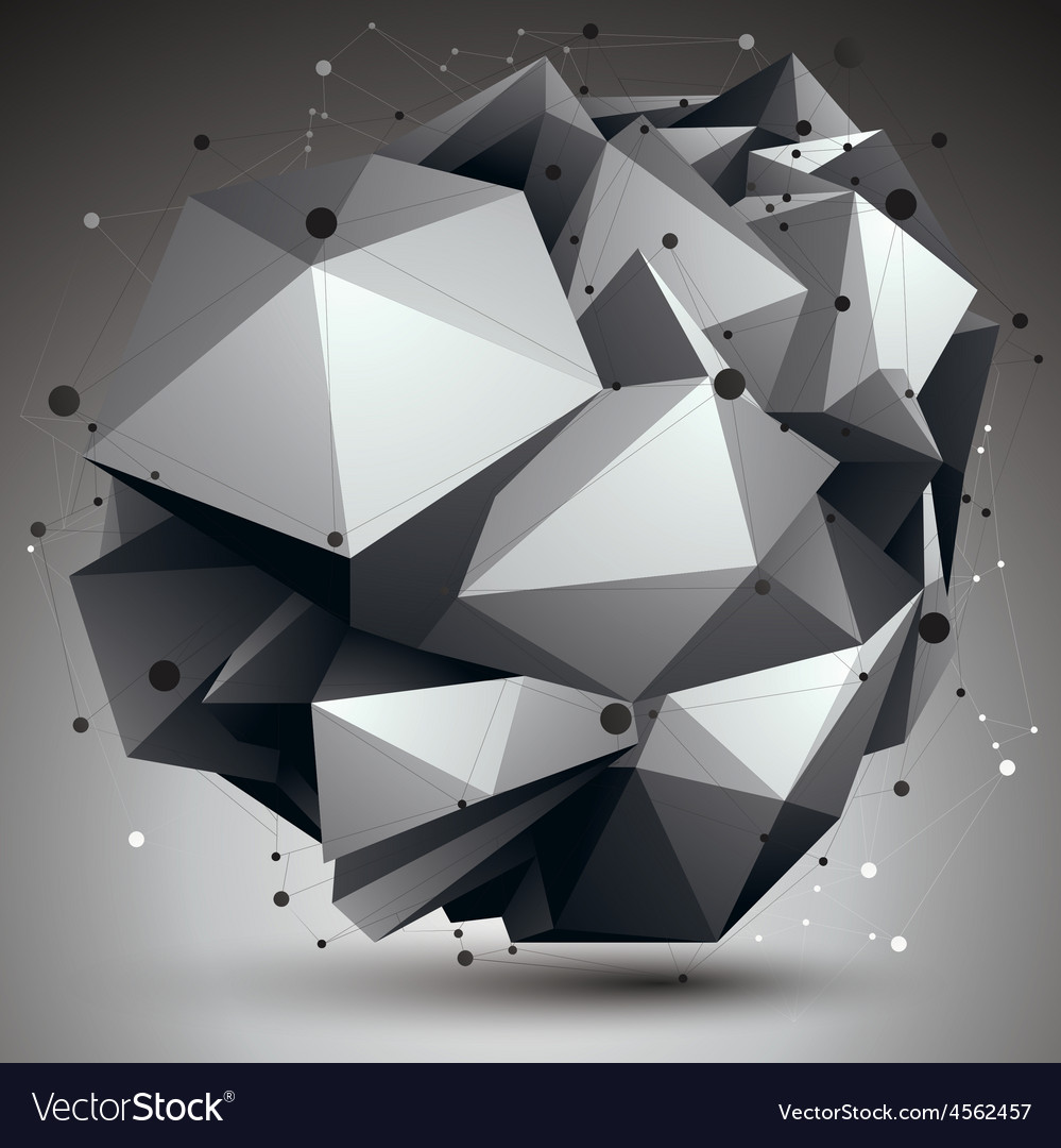 Abstract asymmetric monochrome object with black vector | Price: 1 Credit (USD $1)