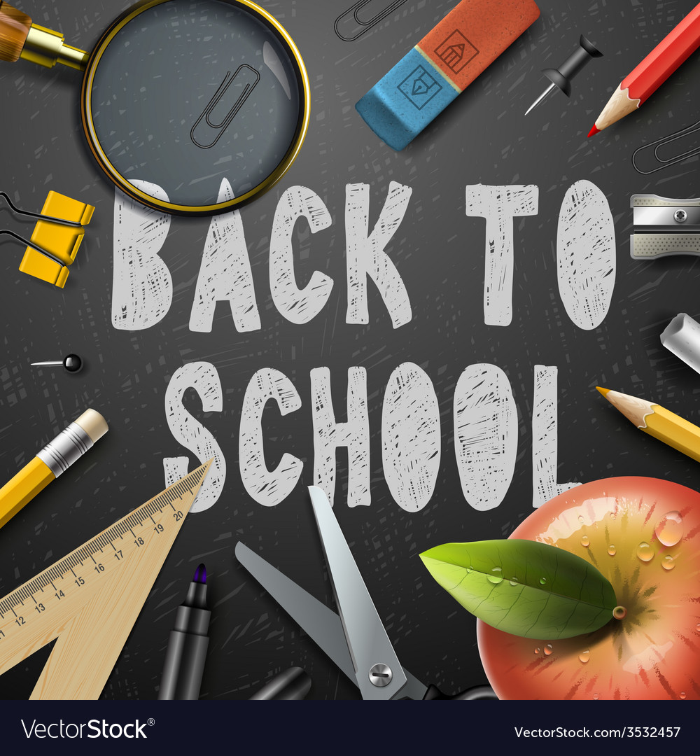 Back to school chalk drawing template with schools vector | Price: 1 Credit (USD $1)