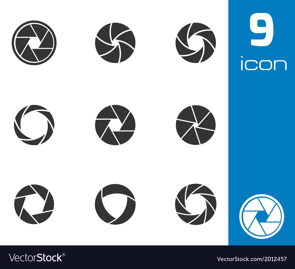 Black camera shutter icons set vector | Price: 1 Credit (USD $1)