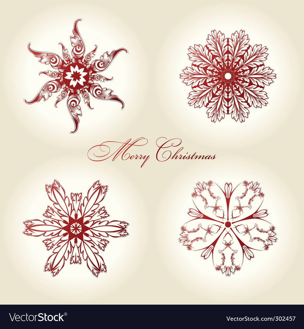 Christmas snowflakes vintage decor red vector | Price: 1 Credit (USD $1)