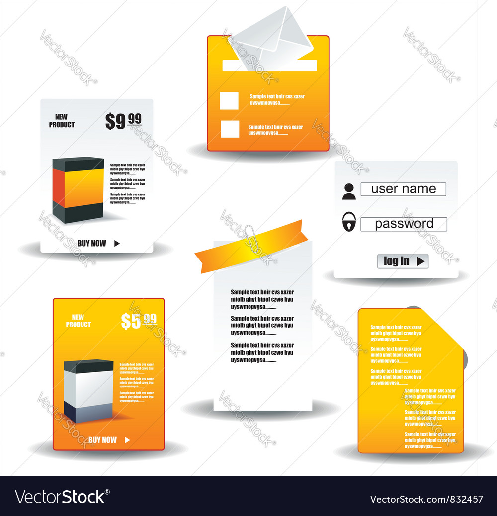 Collection of website elements vector | Price: 1 Credit (USD $1)