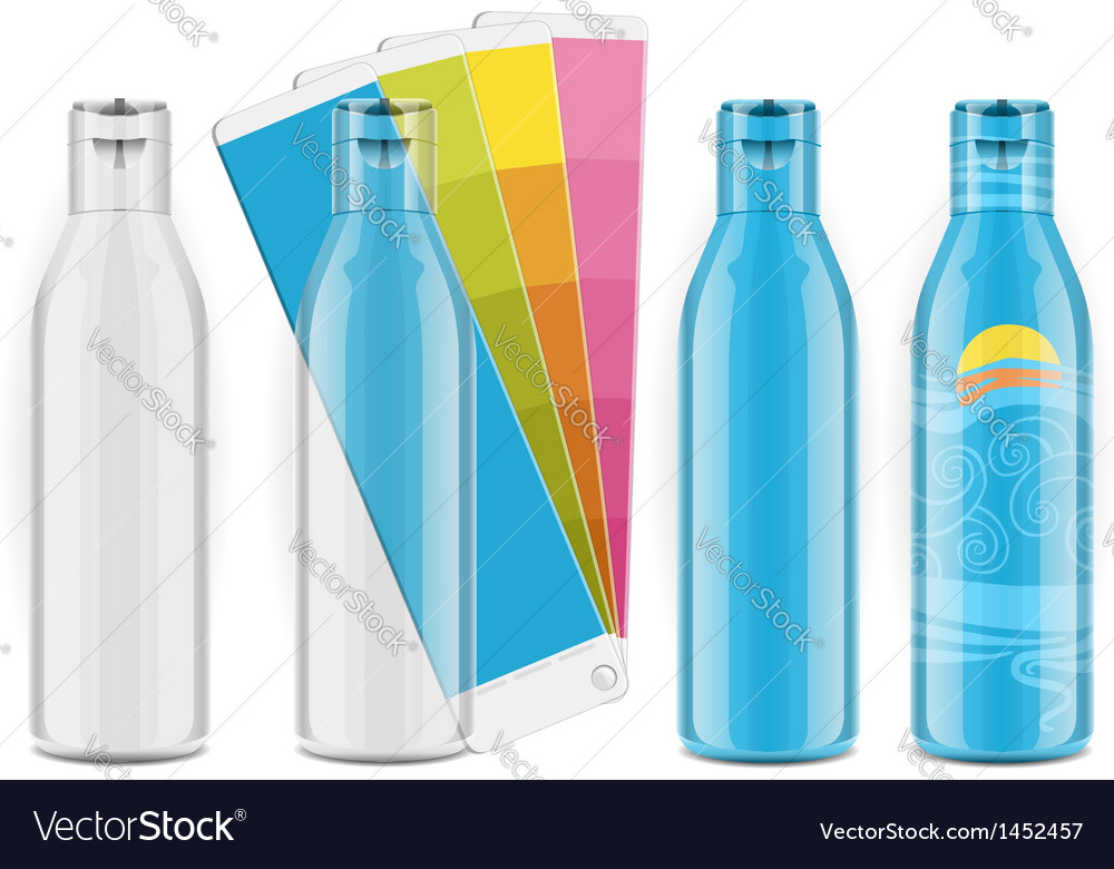 Four plastic bottles with color palette and labels vector | Price: 1 Credit (USD $1)