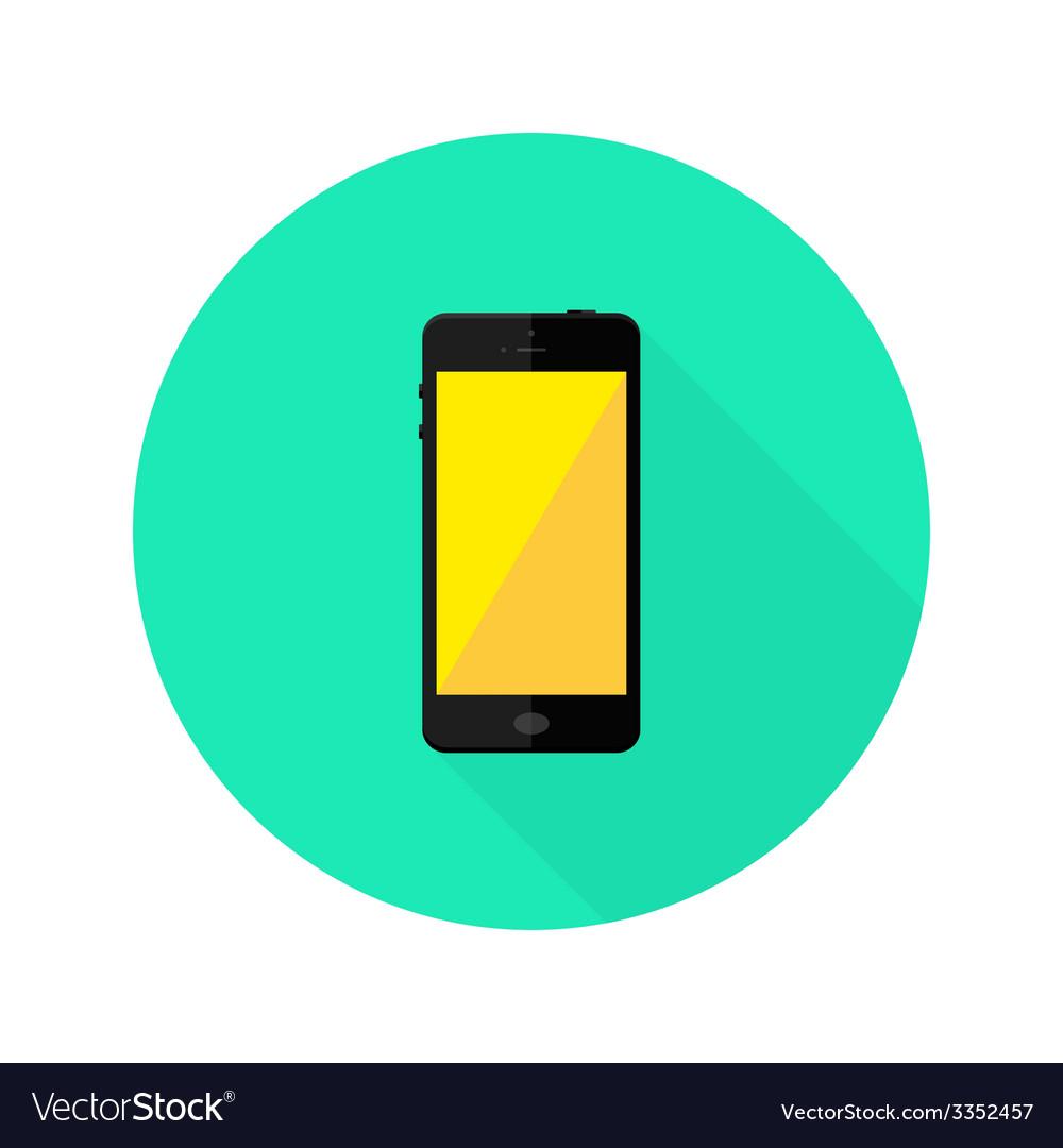 Modern black smartphone flat circle icon vector | Price: 1 Credit (USD $1)
