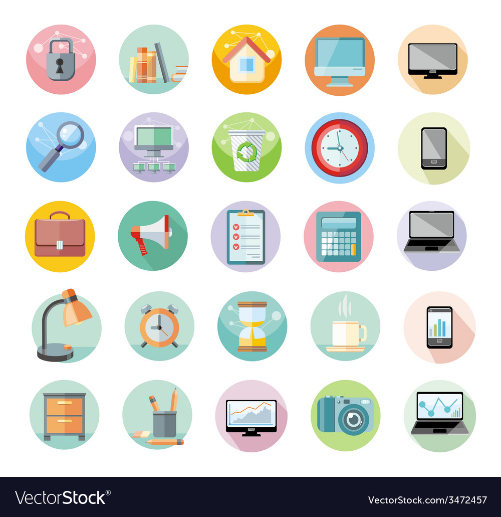 Office and time management icon set vector | Price: 1 Credit (USD $1)