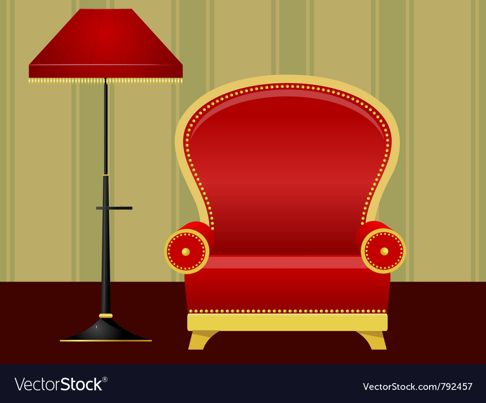Red chair and floor lamp vector | Price: 1 Credit (USD $1)