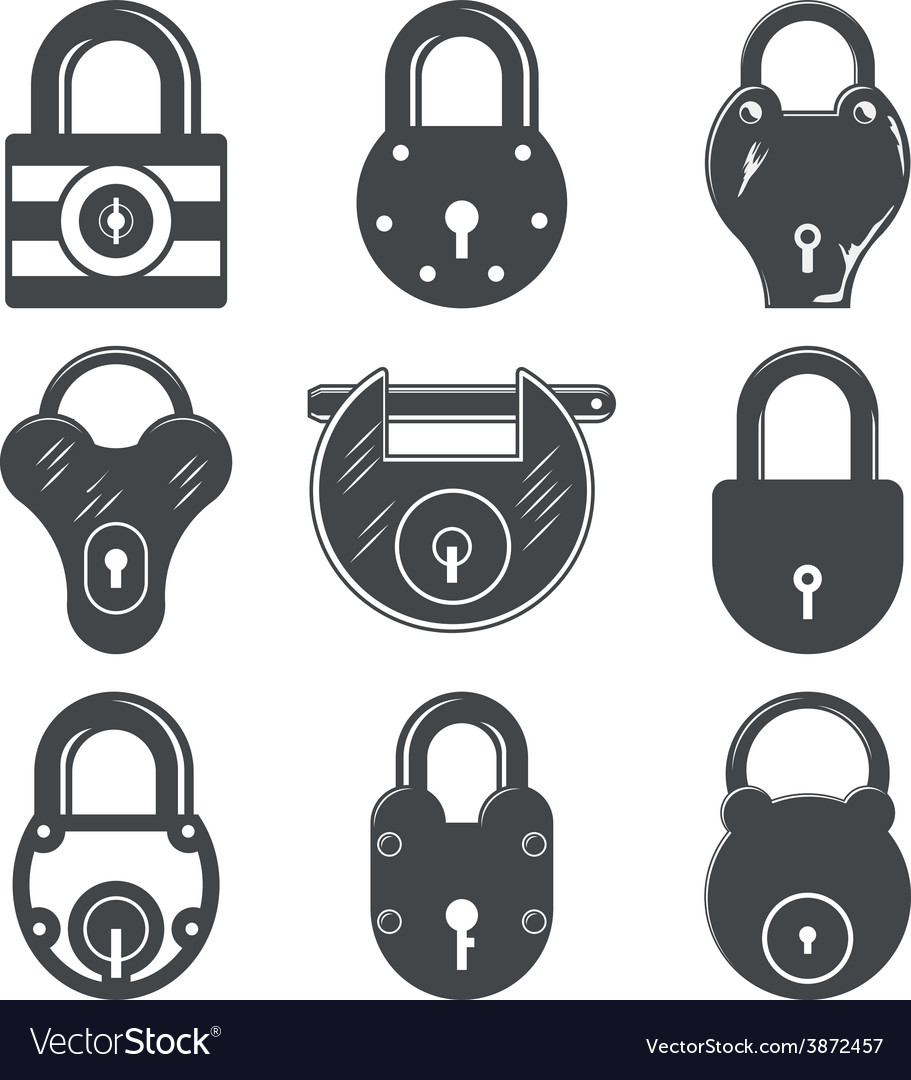 Set of nine padlocks vector | Price: 1 Credit (USD $1)
