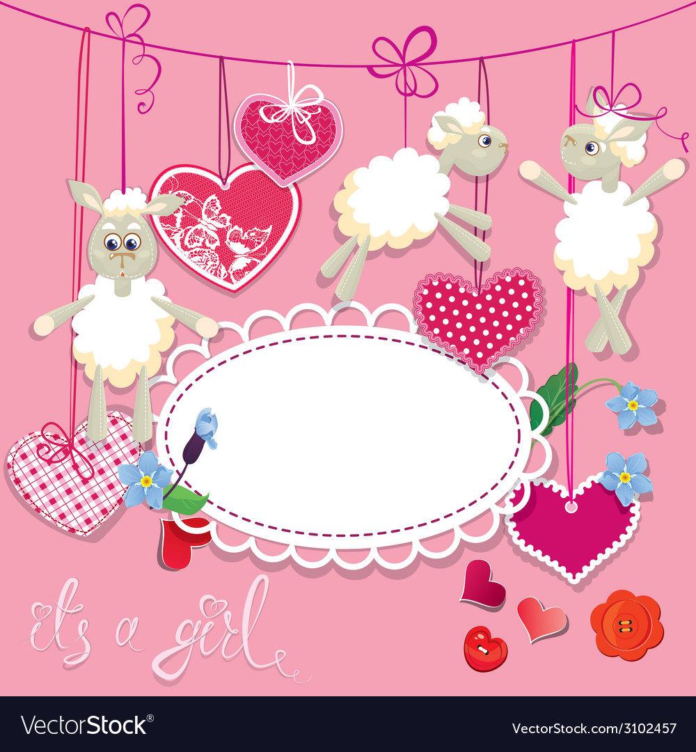 Sheep pink card 2 380 vector | Price: 1 Credit (USD $1)