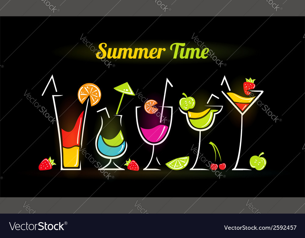 Summer composition with cocktails vector | Price: 1 Credit (USD $1)