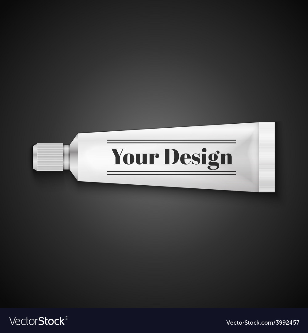 Tube of toothpaste cream or gel grayscale silver vector | Price: 1 Credit (USD $1)