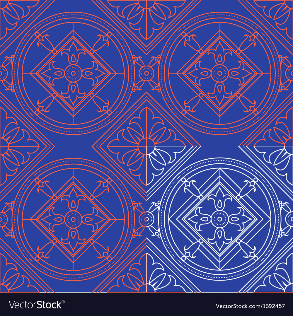 Vintage abstract floral blue seamless pattern th vector | Price: 1 Credit (USD $1)