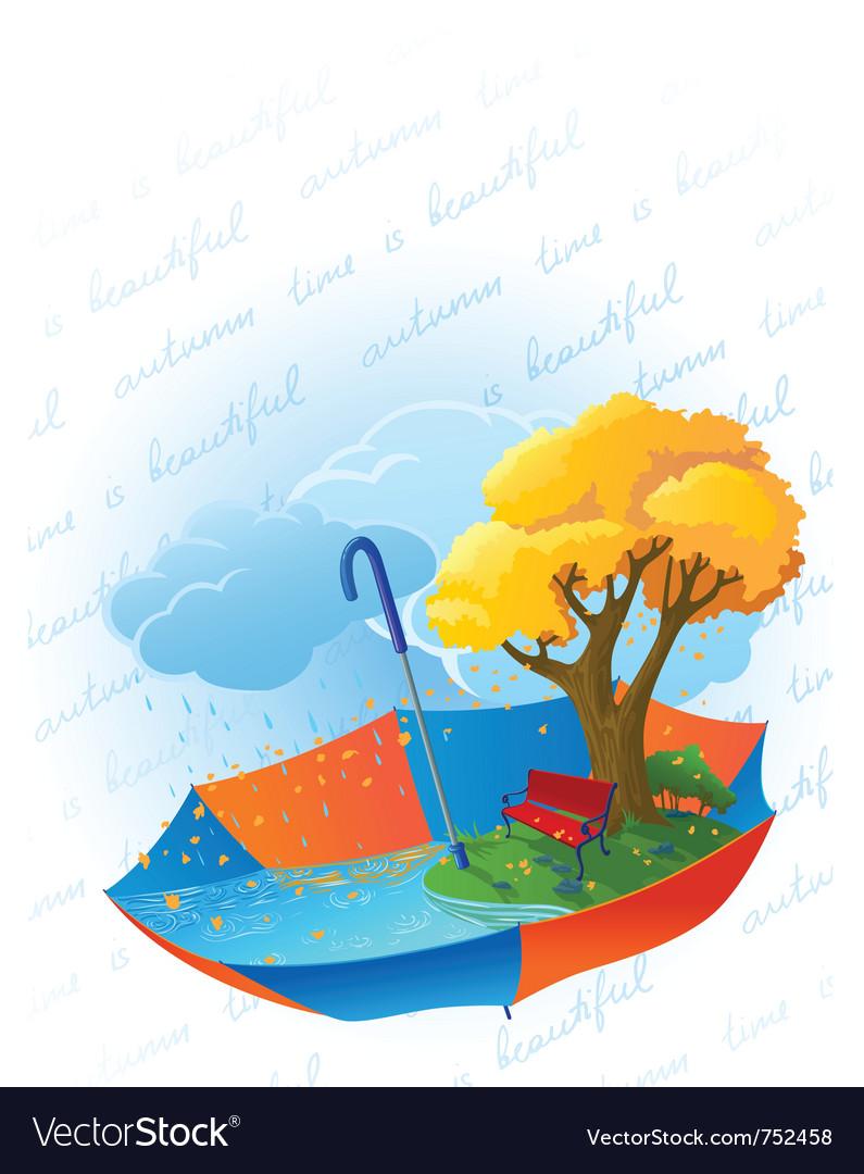 Autumn card with ambrella vector | Price: 3 Credit (USD $3)