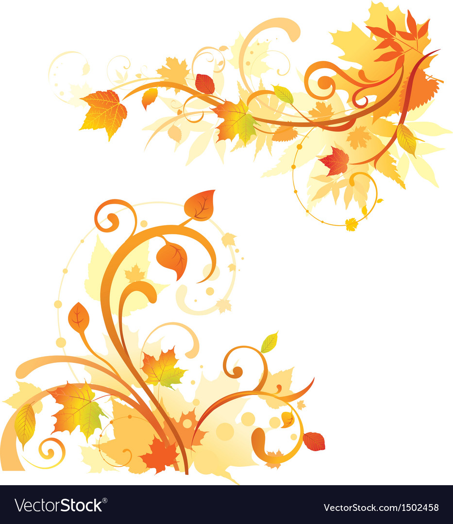 Autumn floral design elements vector | Price: 1 Credit (USD $1)