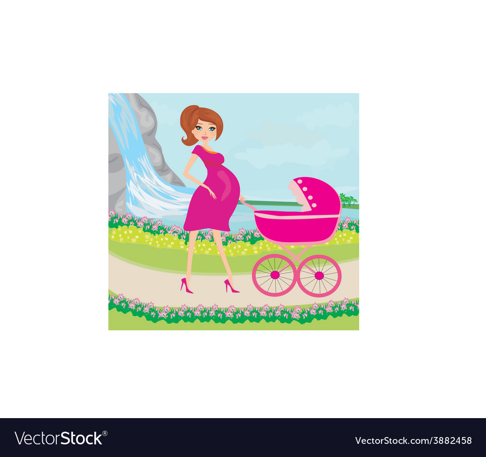 Beautiful pregnant woman pushing a stroller with vector | Price: 1 Credit (USD $1)