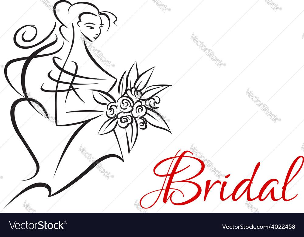 Bridal invitation template with pretty bride vector | Price: 1 Credit (USD $1)