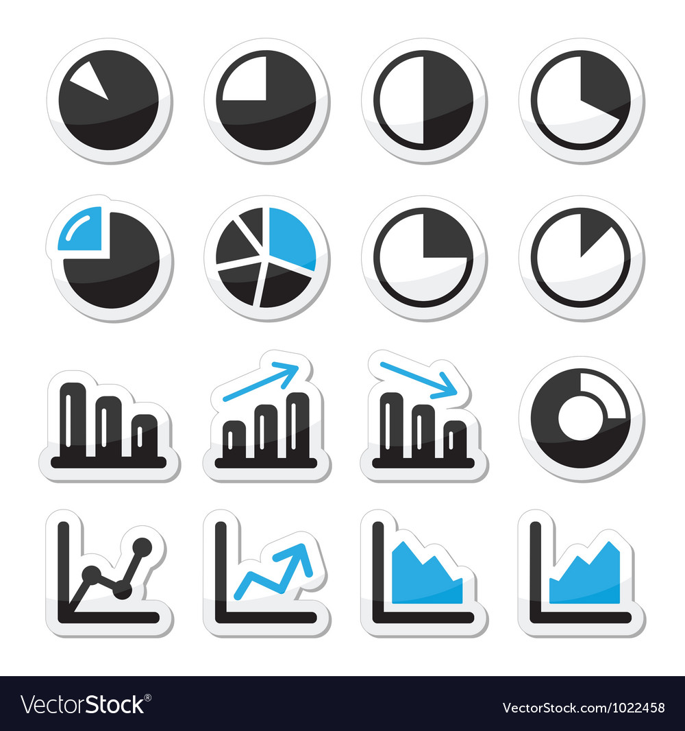 Chart graph black and blue icons as labels vector | Price: 1 Credit (USD $1)