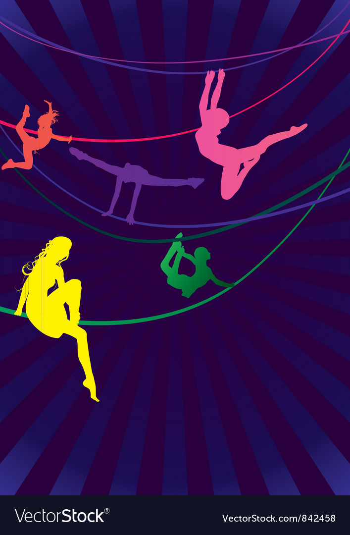 Colorful woman acrobats vector | Price: 1 Credit (USD $1)