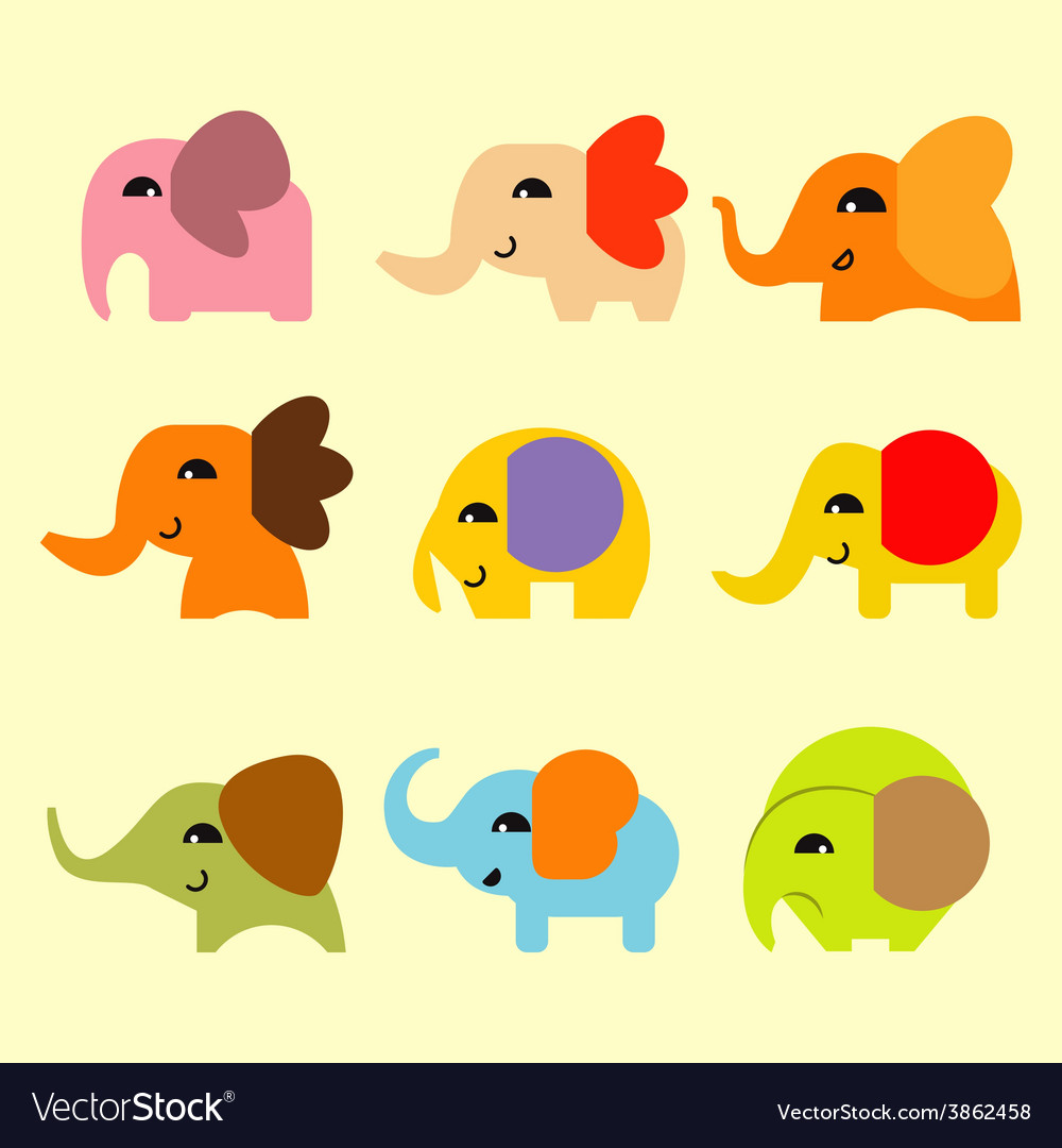 Cute coloful elephant vector | Price: 1 Credit (USD $1)