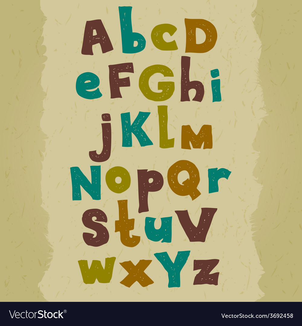 Grunge colorful font hand written doodle alphabet vector | Price: 1 Credit (USD $1)