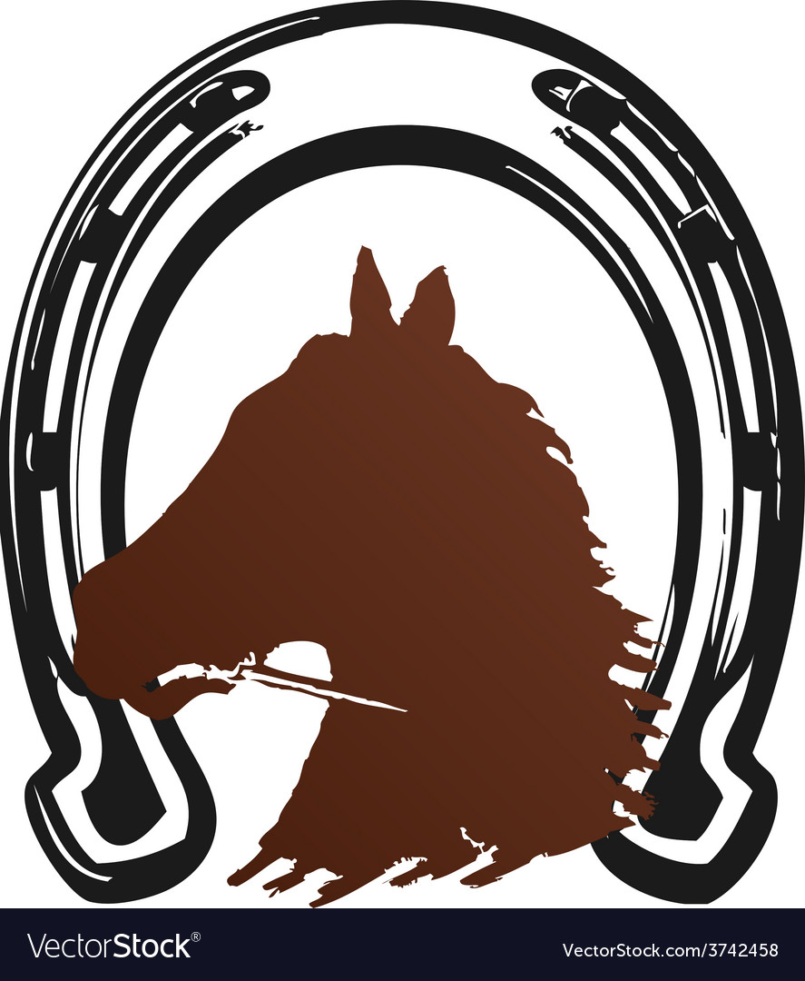 Horse horseshoe brown print vector | Price: 1 Credit (USD $1)