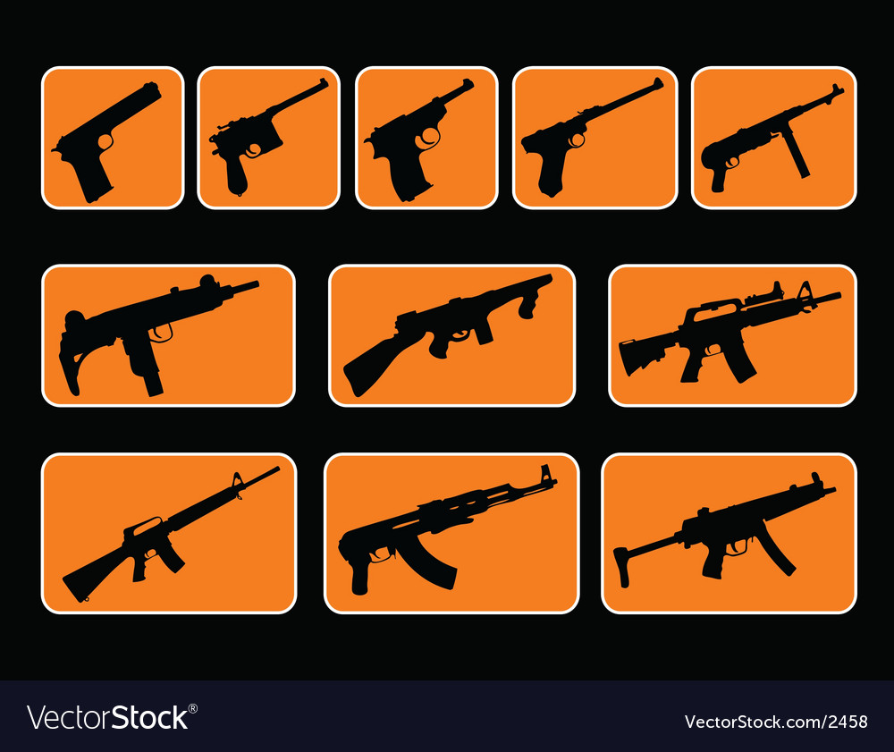Illustrated guns vector | Price: 1 Credit (USD $1)