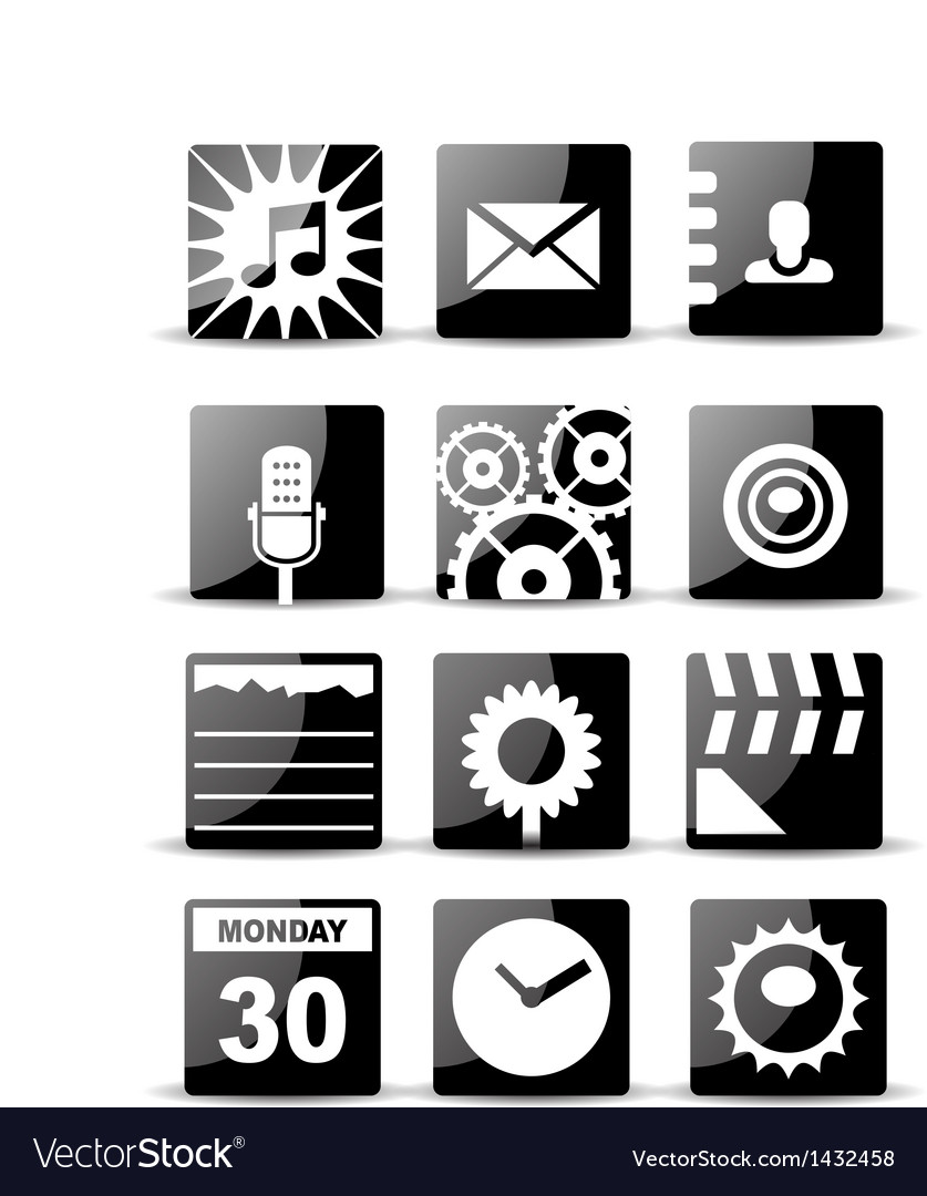 Modern black flat mobile app icon set vector | Price: 1 Credit (USD $1)