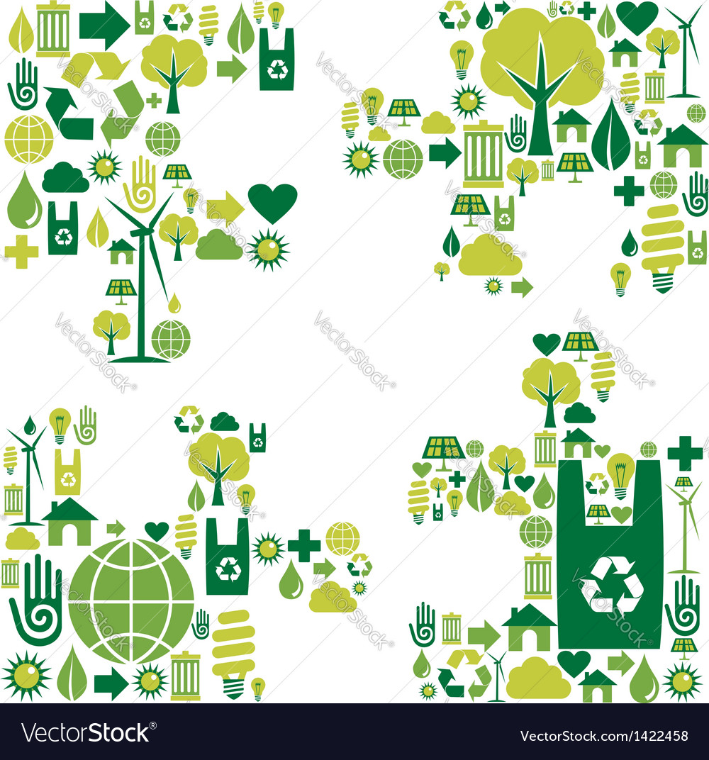 Puzzle environmental icons vector | Price: 1 Credit (USD $1)
