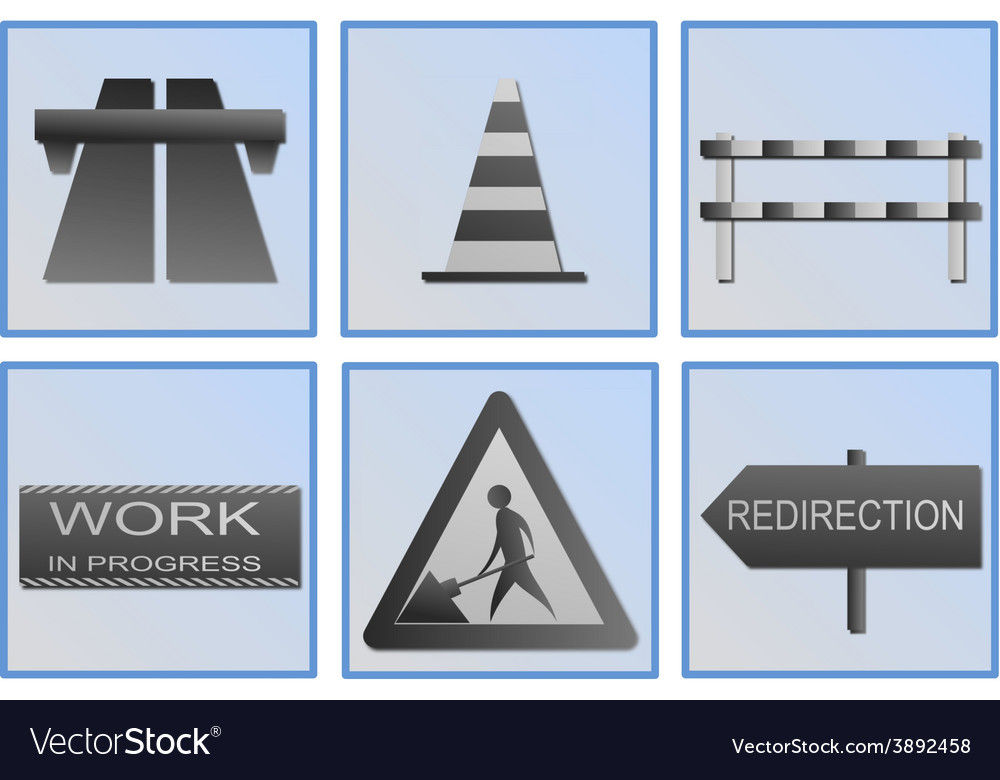 Road work symbols vector   Price: 1 Credit (USD $1)