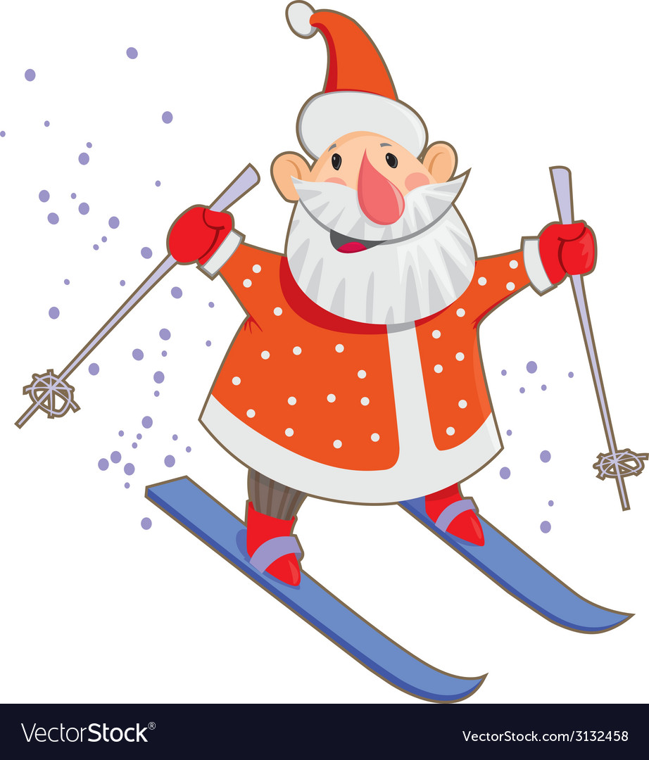 Skiing santa vector | Price: 1 Credit (USD $1)