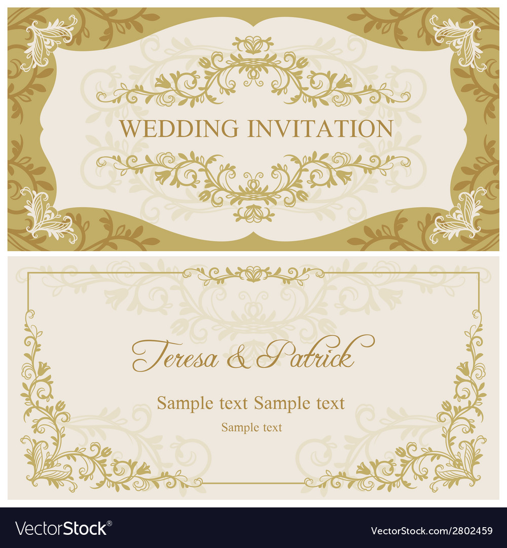 Baroque wedding invitation gold and beige vector | Price: 1 Credit (USD $1)