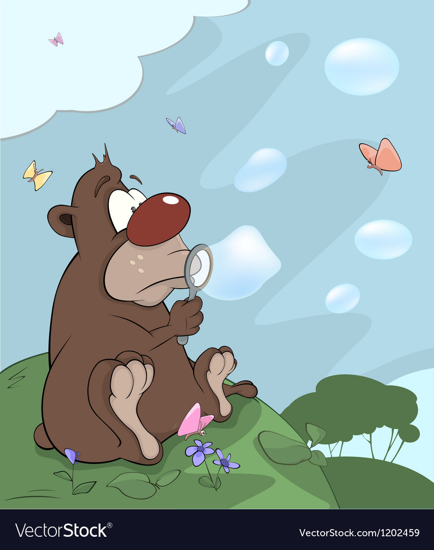 Bear cub and soap bubbles cartoon vector | Price: 1 Credit (USD $1)