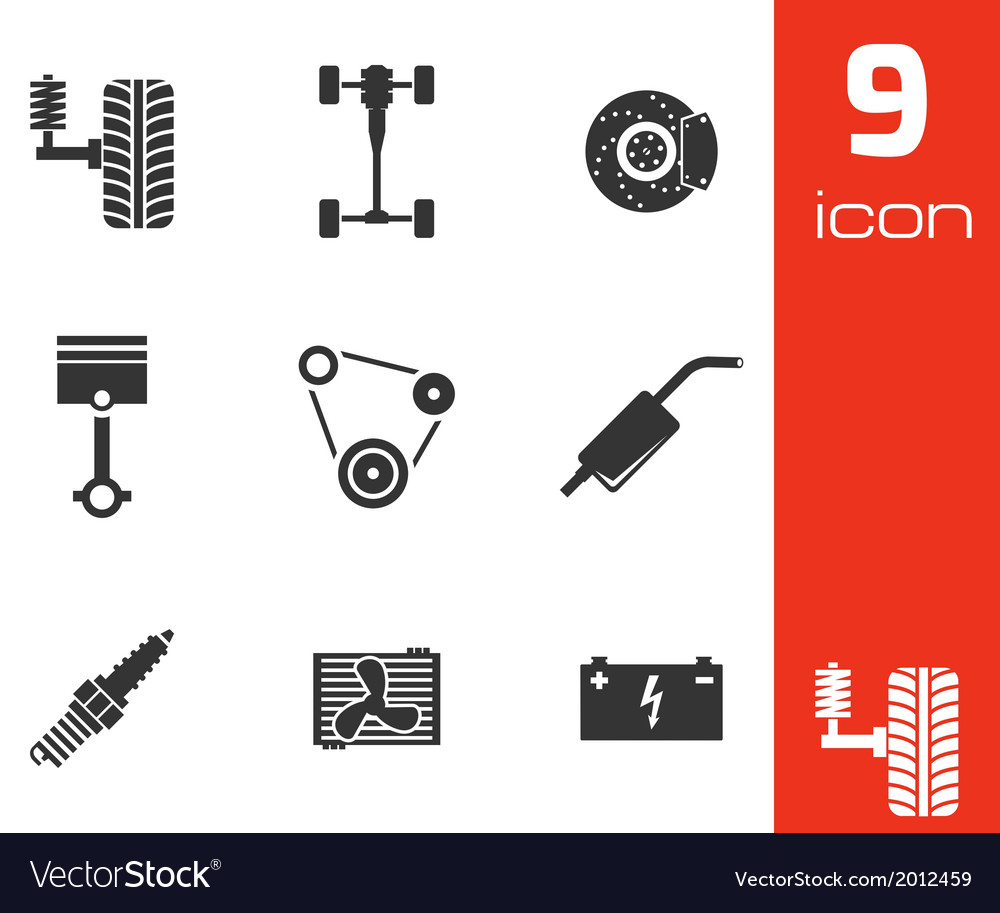 Black car parts icons set vector | Price: 1 Credit (USD $1)