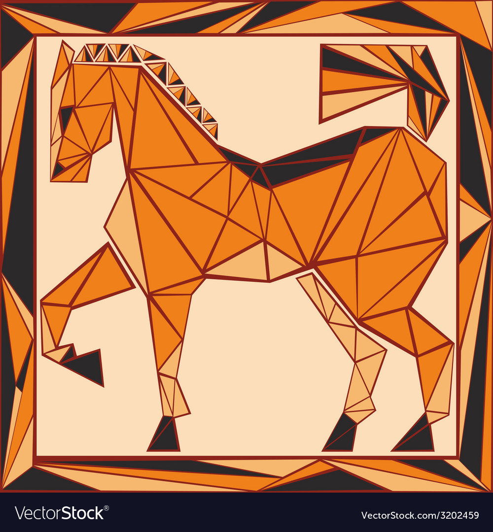 Chinese horoscope stylized stained glass horse vector | Price: 1 Credit (USD $1)