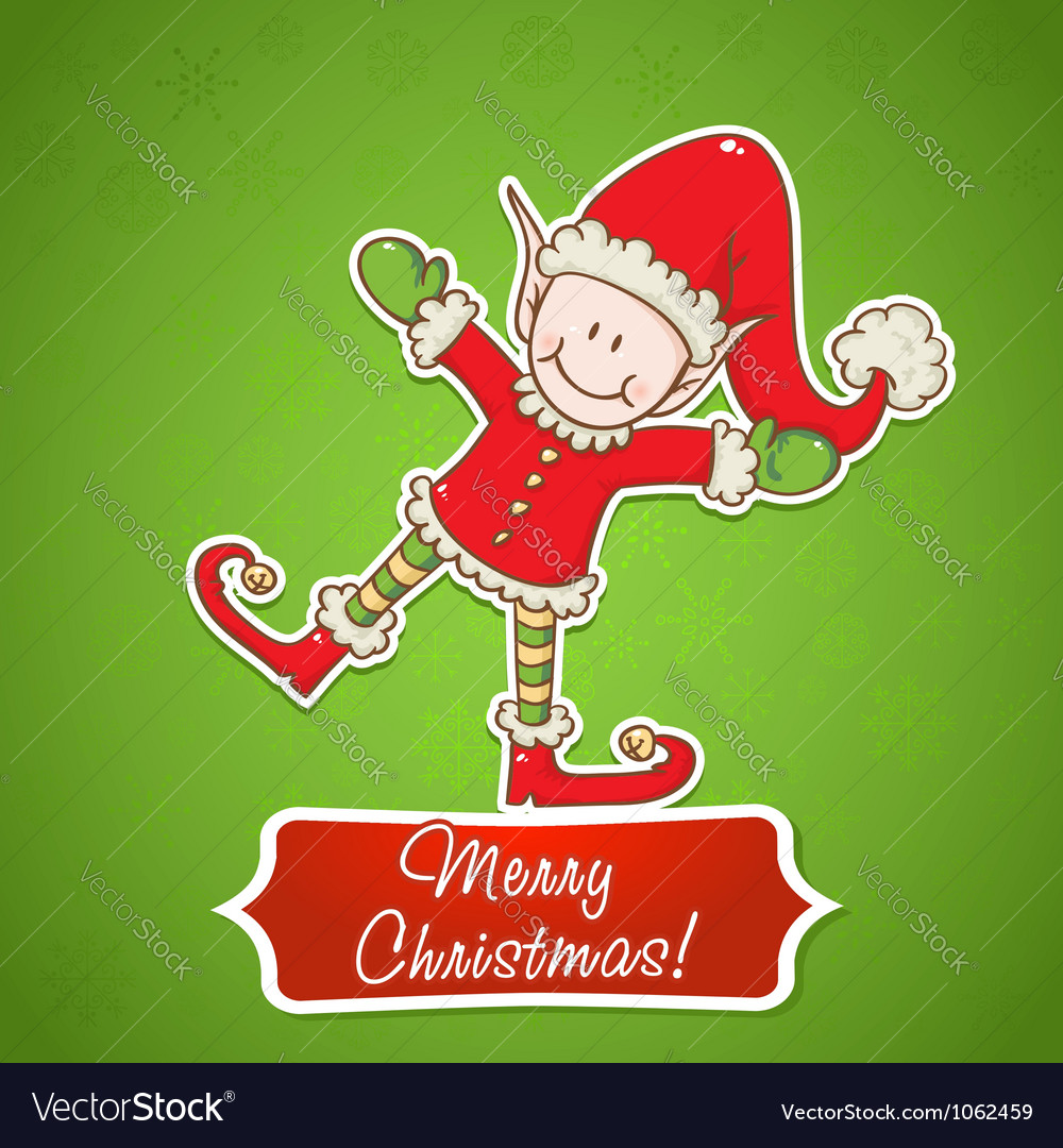 Christmas card with cute little elf santa helper vector | Price: 1 Credit (USD $1)