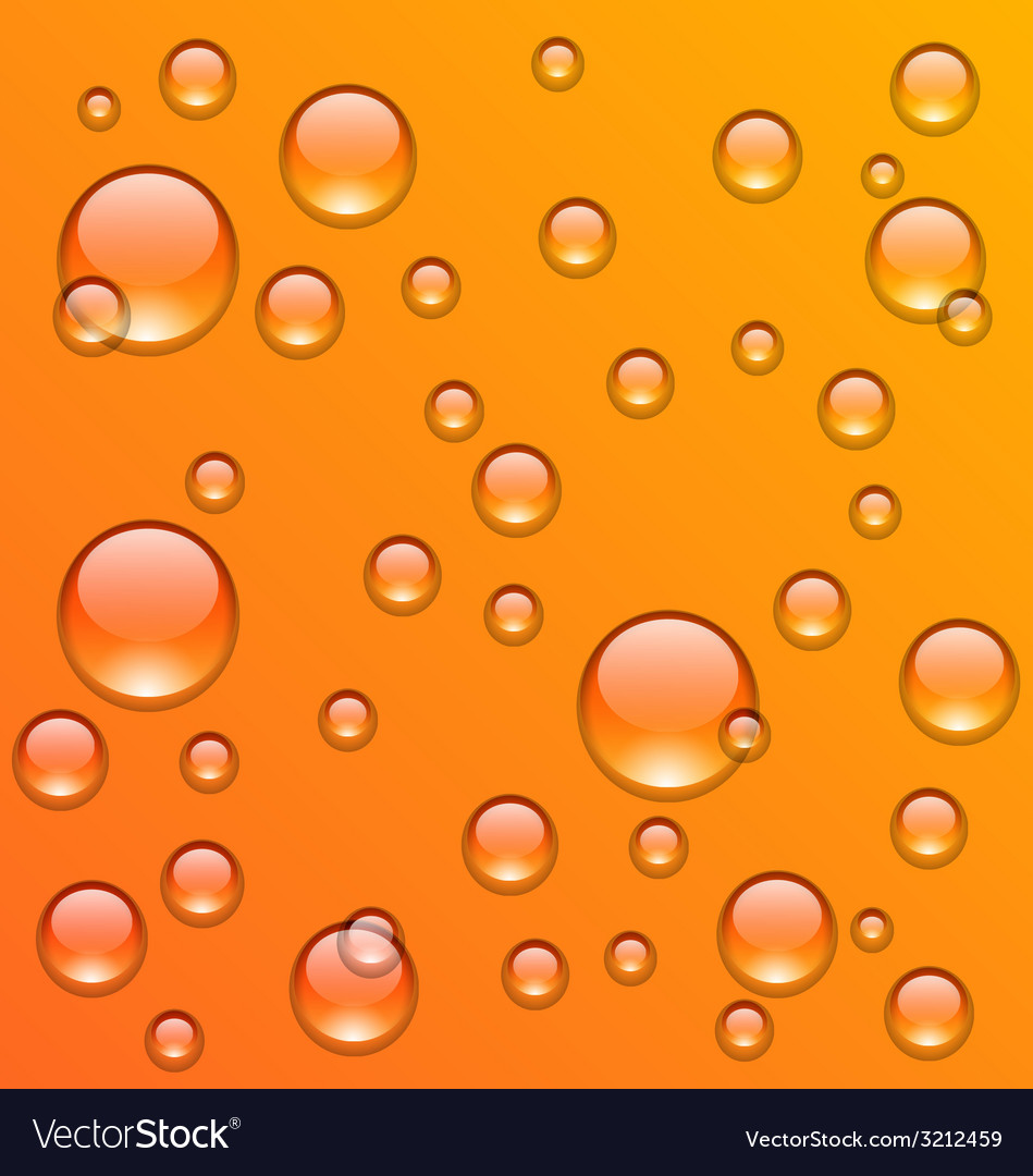 Clean water droplets on orange surface - vector | Price: 1 Credit (USD $1)