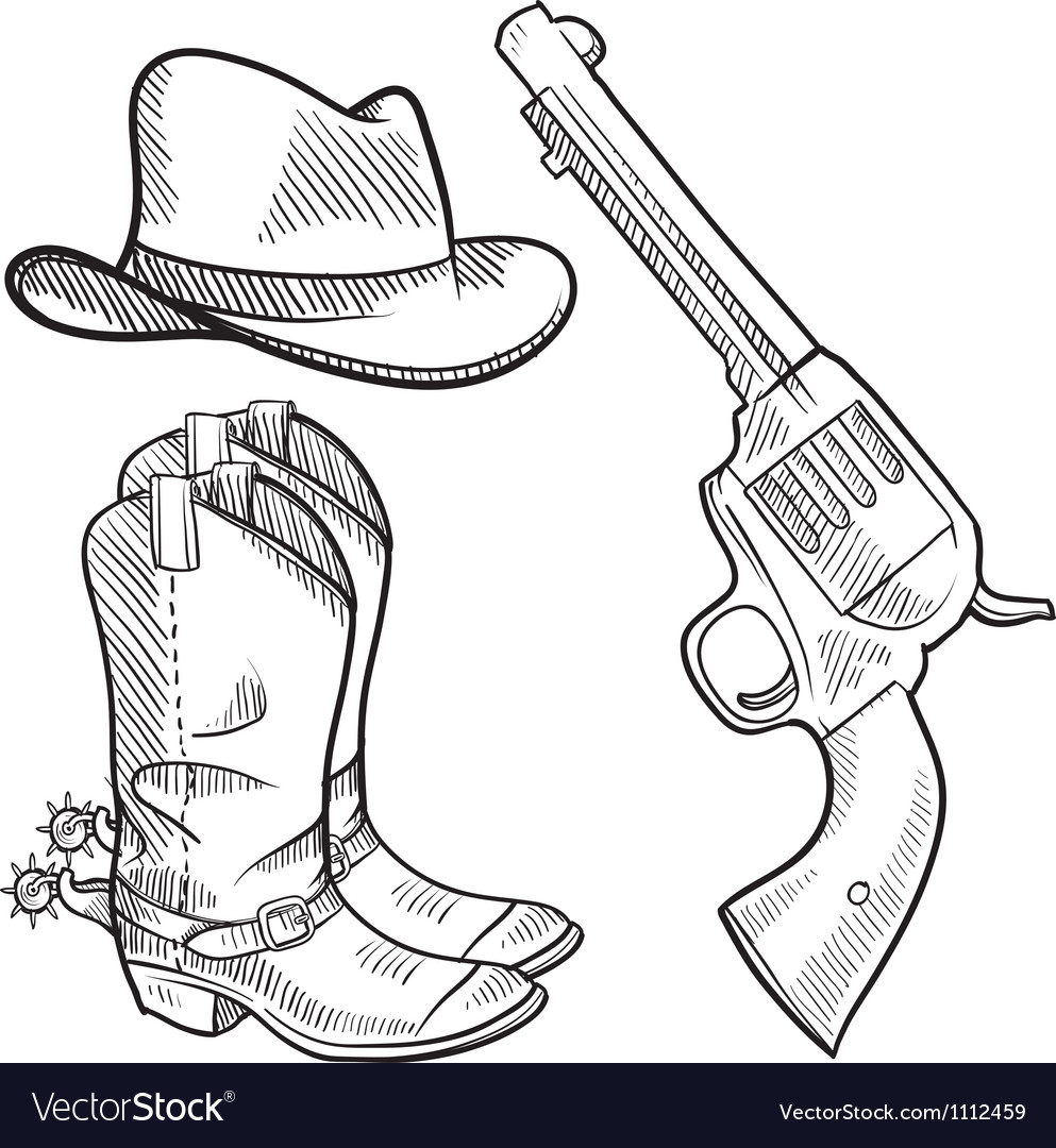 Doodle cowboy boots hat gun vector | Price: 1 Credit (USD $1)