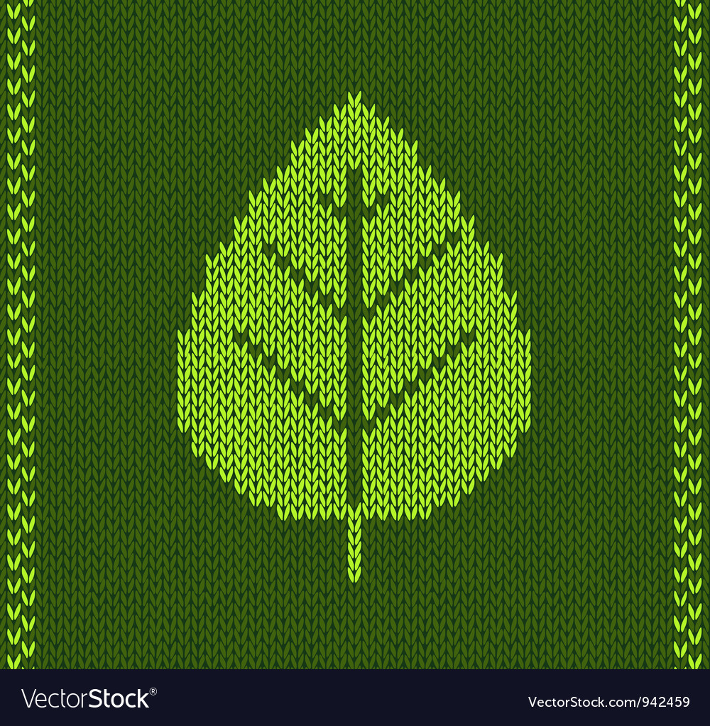 Green leaf style knitted pattern vector | Price: 1 Credit (USD $1)