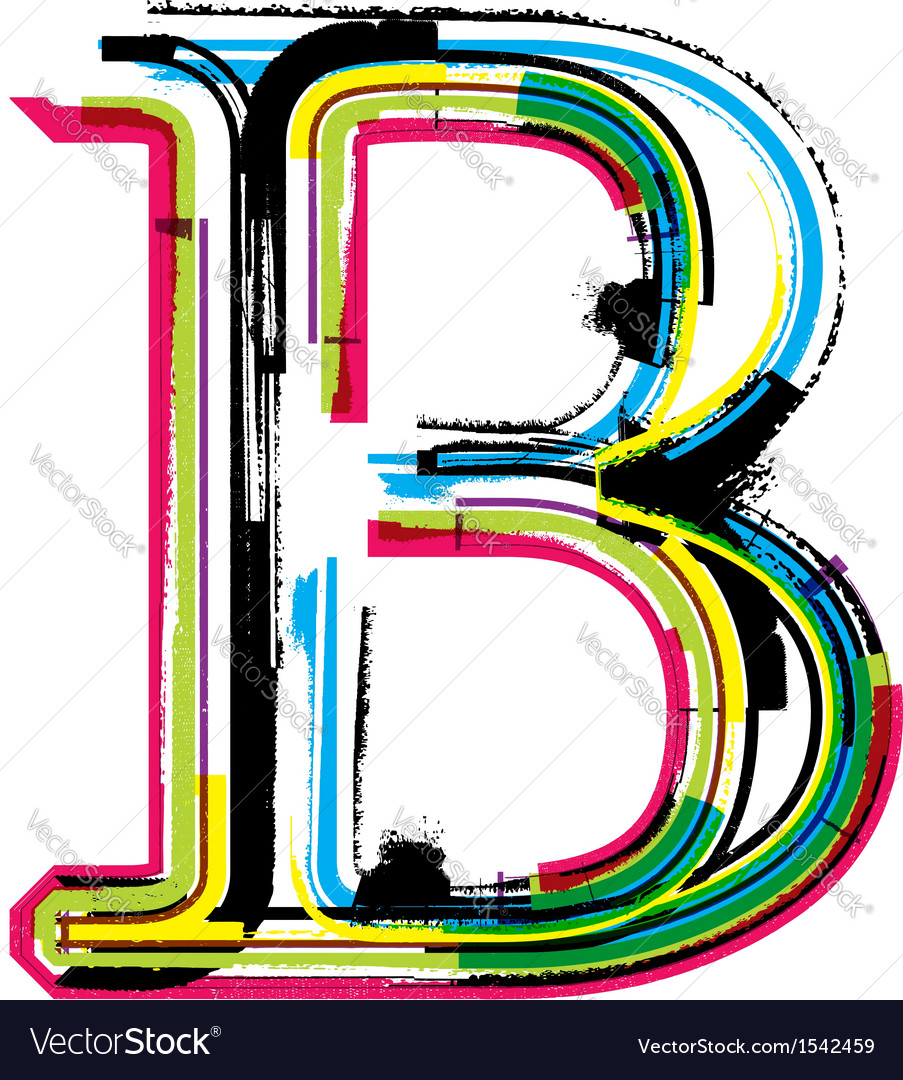 Grunge colorful font letter b vector | Price: 1 Credit (USD $1)