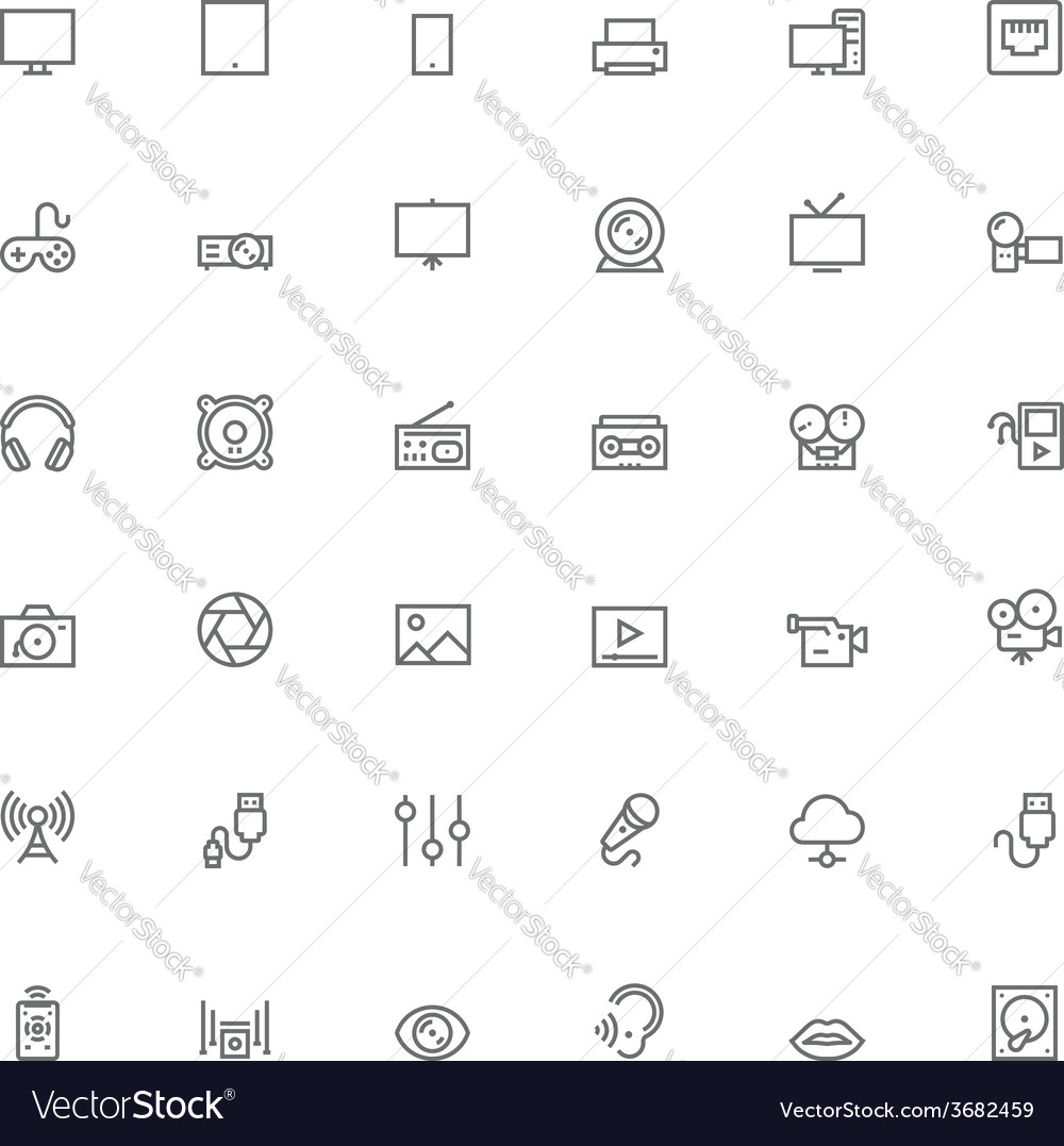 Multimedia icon set vector | Price: 1 Credit (USD $1)