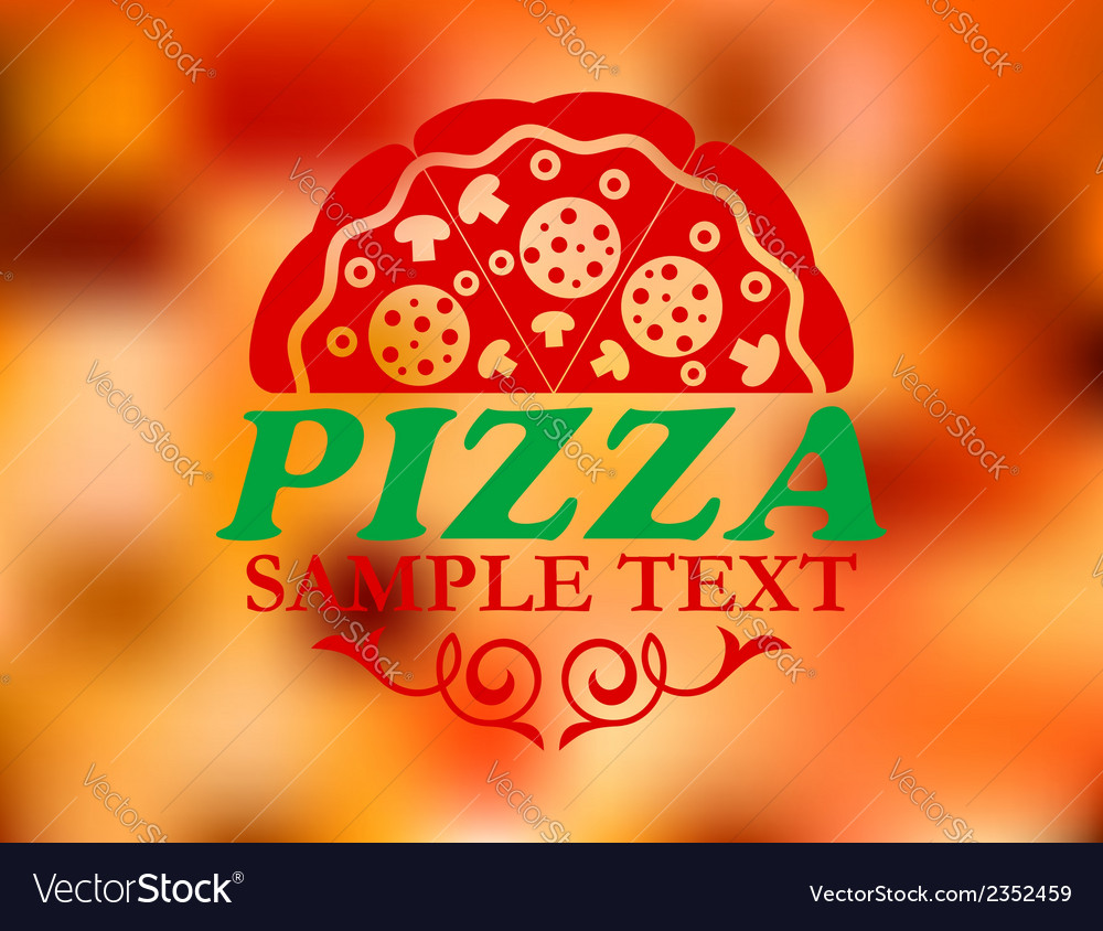 Pizza label on red colorful background vector | Price: 1 Credit (USD $1)