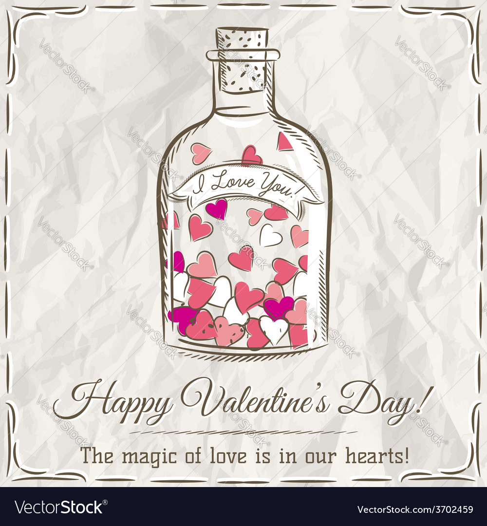 Valentine card with jar filled with hearts and wis vector | Price: 1 Credit (USD $1)