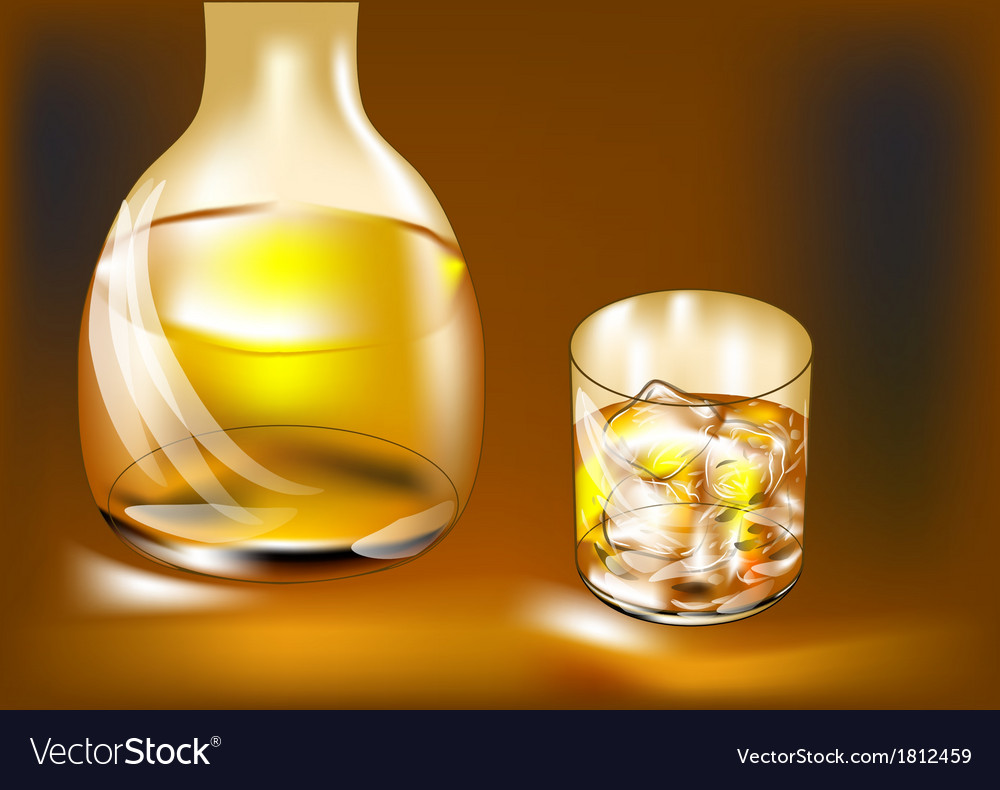 Whisky bottle and glass vector | Price: 1 Credit (USD $1)