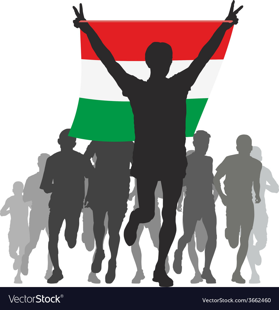 Athlete with the hungary flag at the finish vector | Price: 1 Credit (USD $1)