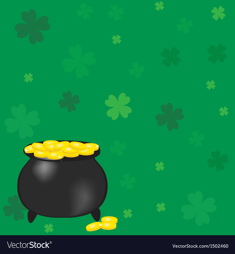 Black pot of leprechauns gold with lucky clovers vector | Price: 1 Credit (USD $1)