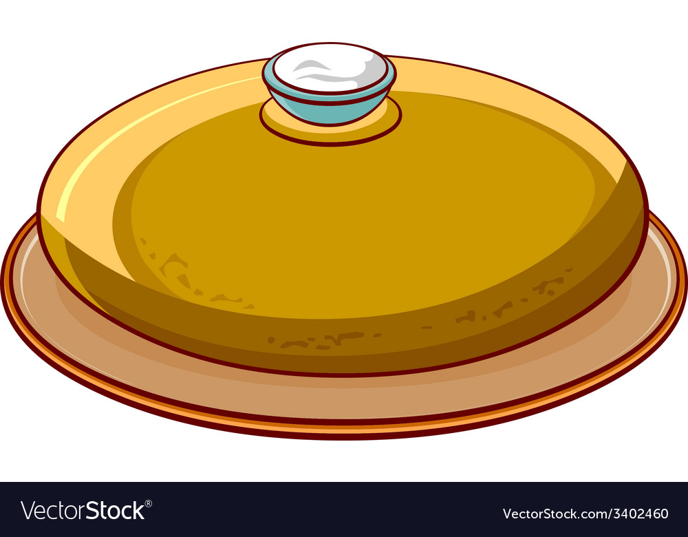 Bread round loaf with salt on a platter vector | Price: 1 Credit (USD $1)