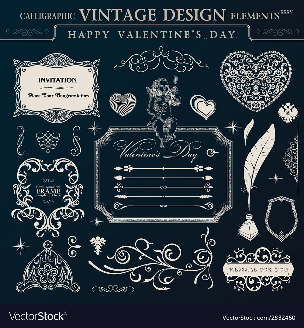 Calligraphic vintage ornament set happy valentine vector | Price: 1 Credit (USD $1)