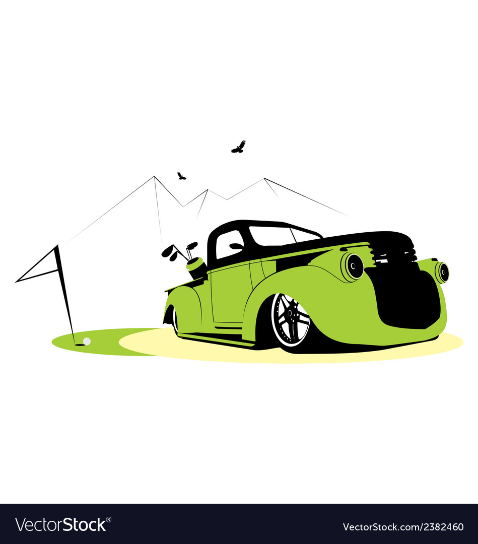 Car and golf vector | Price: 1 Credit (USD $1)