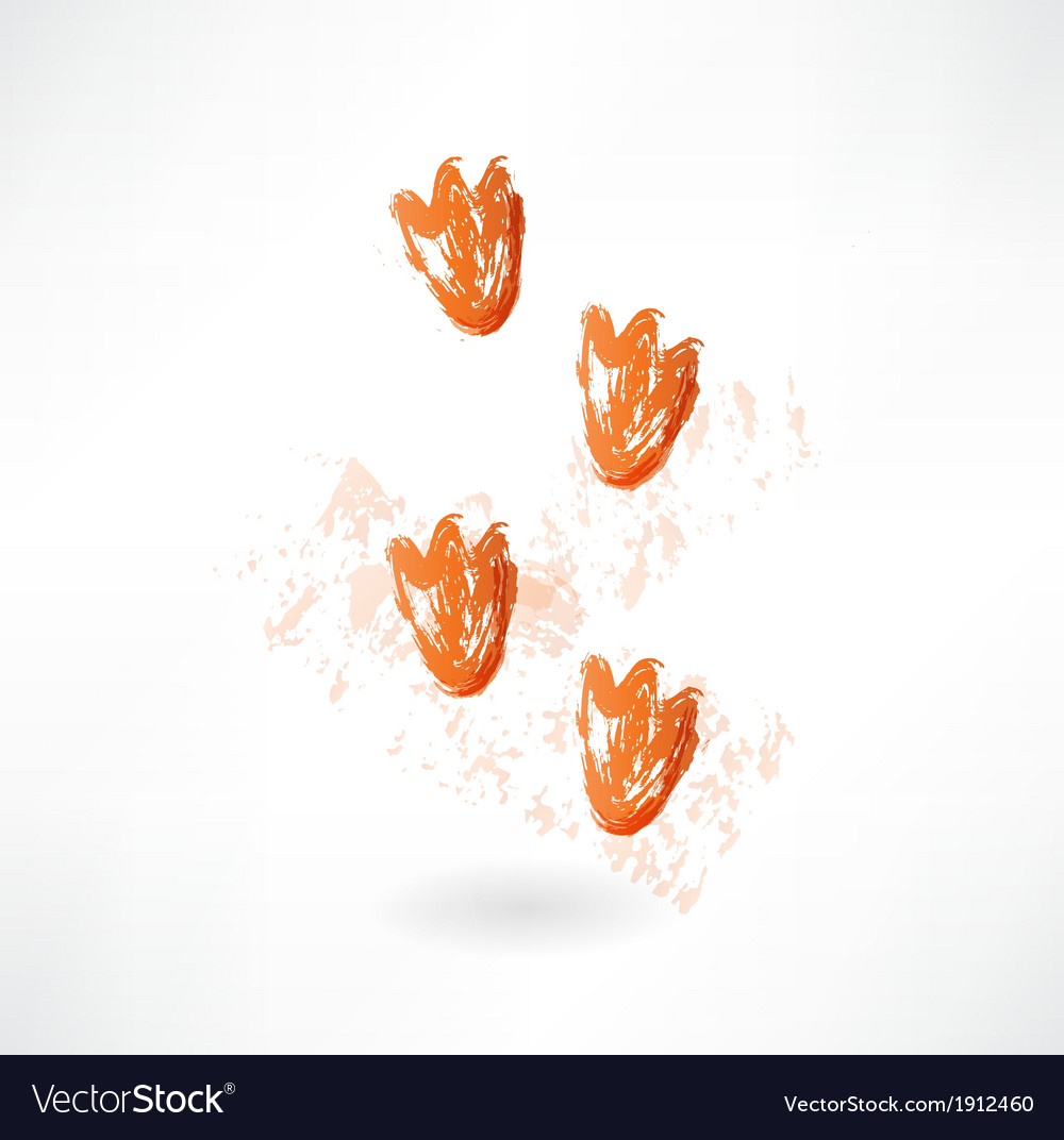 Ducks footprint grunge icon vector | Price: 1 Credit (USD $1)