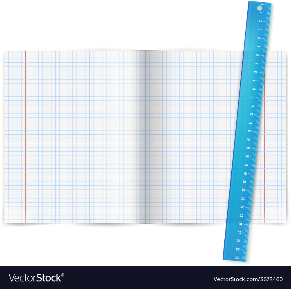 Exercise book with ruler vector | Price: 1 Credit (USD $1)